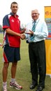 England's Steven Finn receives the Man-of-the-Match award from ICC chief executive Malcolm Speed, England U-19s v Ireland U-19s, Group D, Under-19 World Cup, Kuala Lumpur, February 17, 2008