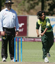 Sadia Yousuf delivers the ball, Pakistan v Zimbabwe, ICC Women's World Cup Qualifier, Stellenbosch, February 19, 2008
