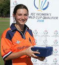 Lotte Egging with her Player of the Match award, Pakistan v Netherlands, ICC Women's World Cup Qualifiers semi-final, Stellenbosch, February 22, 2008