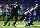 Paul Collingwood loses his balance and is stumped by Brendon McCullum