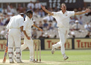 Jason Gillespie rejoices at the wicket of Nasser Hussain, England v Australia, 3rd Test, Old Trafford, July 3-7, 1997