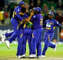 Sri Lanka huddle around Sanath Jayasuriya after completing the win, Australia v Sri Lanka, CB Series, 12th ODI, Melbourne, February 29, 2008
