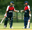 Akash Gupta and Sagar Khadka have something to cheer during Nepal's dismal display, Nepal v West Indies, plate final, Under-19 World Cup, Kuala Lumpur, March 1, 2008