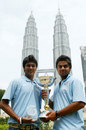 Ajitesh Argal and Virat Kohli of India pose with the Under-19 World Cup, Kuala Lumpur, March 3, 2008