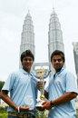 Ajitesh Argal and Virat Kohli of India pose with the Under-19 World Cup, Kuala Lumpur, March 3, 2008