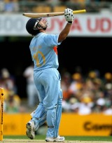 Sachin Tendulkar looks toward the heavens after bringing up his half-century, Australia v India, CB Series, 2nd final, Brisbane, March 4, 2008