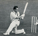 Norm O'Neill sweeps on his way to 82, England v Australia, 1st Test, Edgbaston, June 9, 1961