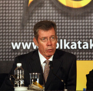 John Buchanan, coach of the Kolkata Knight Riders, speaks at the function, Indian Premier League, Kolkata, March 11, 2008