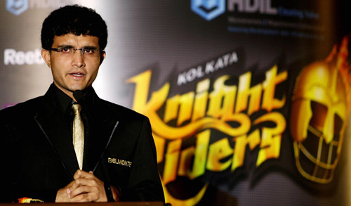 Sourav Ganguly, captain of the Kolkata Knight Riders, speaks to the press, Mumbai, March 13, 2008