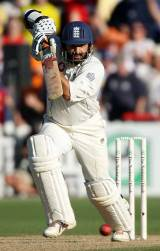 Monty Panesar drives towards the end of the day, New Zealand v England, 2nd Test, 3rd day, Wellington, March 15, 2008
