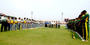 The players and match officials observe a minute's silence in memory of Manjural Islam and Sajjadul Hasan before the final, Dhaka Premier Division Twenty20 Cricket League 2007-08, March 16, 2008
