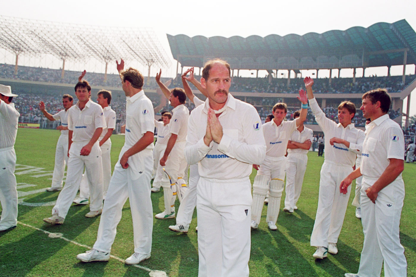 South Africa's Clive Rice leads his team back into international cricket, India v South Africa, first ODI, Calcutta, 10 November, 1991