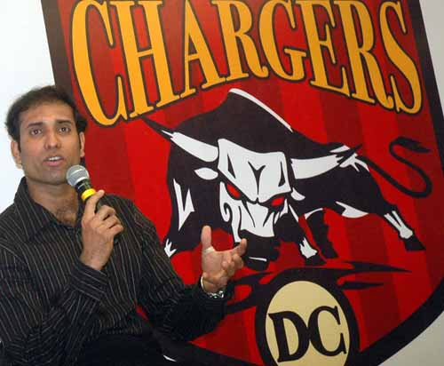VVS Laxman speaks at the launch of the Deccan Chargers, the Hyderabad-based IPL outfit, March 18, 2008