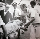 An unconscious Ewen Chatfield is stretchered off the field, New Zealand v England, 1st Test, Auckland, February 24, 1975