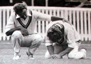 A distraught Peter Lever is comforted by Derek Underwood after felling Ewen Chatfield, New Zealand v England, 1st Test, Auckland, February 24, 1975