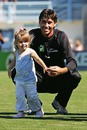 Stephen Fleming spends time with his daughter Tayla, New Zealand v England, 3rd Test, Napier, 5th day, March 26, 2008