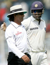 Asad Rauf gets a pat on the back from Mahendra Singh Dhoni, India v South Africa, 1st Test, Chennai, 5th day, March 30, 2008