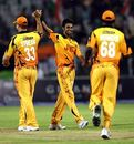 Sumit Kalia celebrates one of his four wickets, Ahmedabad Rockets v Lahore Badshahs, Indian Cricket League, Hyderabad, March 30, 2008