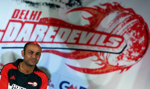 Virender Sehwag at a press meet organised by the Delhi Daredevils, New Delhi, March 31, 2008