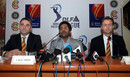 Keith Bradshaw, Lalit Modi and John Stephenson announce the signing of the MCC Spirit of Cricket declaration