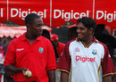 Fidel Edwards and Amit Jaggernauth at a sponsor's function, Port-of-Spain, April 3, 2008