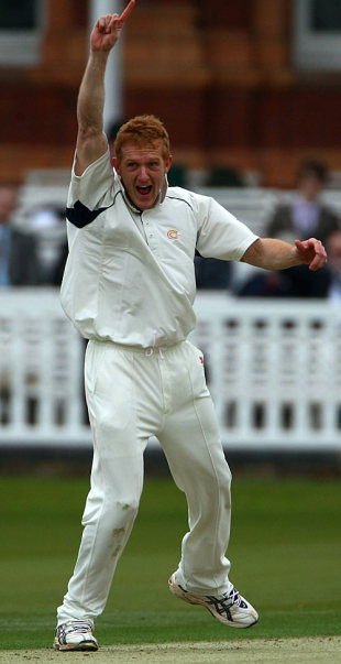 Steve Kirby celebrates one of his three early wickets in the morning, MCC v Sussex, 1st day, Lord's, April 10, 2008