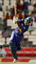 Mahela Udawatte deposits a six into the crowd at midwicket