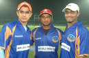 Taruwar Kohli, Aditya Angle, and Ravindra Jadeja pose during a promotional event, April 16, 2008