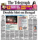 Recrimination about the floodlight failure on the front page of <I>The Telegraph</I>