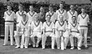 The Somerset squad in 1961. Back: John Miles Lawrence, Brian Langford, Ken Palmer, T. Tout (scorer), Graham Atkinson, Ken Biddulph, Haydn Sully, Brian Roe. Front: Colin Atkinson, James Geoffrey Lomax, Harold Stephenson, Bill Alley, Peter Wight.