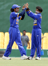 Chamari Polgampola (right) celebrates a strike, Sri Lanka v Bangladesh, Dambulla, Women's Asia Cup, May 5, 2008