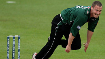 Simon Jones flies into bowl for Worcestershire against his former county, Glamorgan