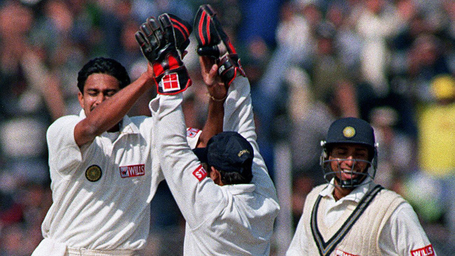 Anil Kumble celebrates on his way to 10 for 74 against Pakistan
