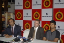 Charu Sharma, Martin Crowe, and Venkatesh Prasad at a function organised by the Bangalore Royal Challengers, Bangalore, March 18, 2008