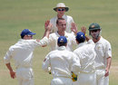 Stuart Clark is congratulated for dismissing opener Simon Jackson, Jamaica XI v Australians, Trelawny, 1st day, May 16, 2008