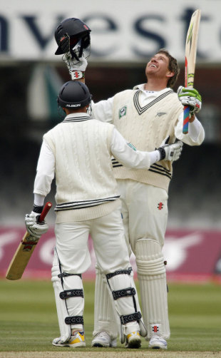 Jacob Oram is congratulated on his first Test century against England, England v New Zealand, 1st Test, Lord's, May 19, 2008