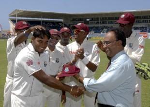 Amit Jaggernauth receives his Test cap, West Indies v Australia, 1st Test, Jamaica, May 22, 2008