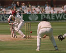 Brian Lara edges Darren Gough to a diving Alec Stewart who would take a brilliant catch to his left, England v West Indies, 2nd Test, Lord's, June 26, 1995