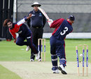 Mahaboob Alam completes his ten-wicket haul, Nepal v Mozambique, World Cricket League Division 5, Jersey, May 25, 2008