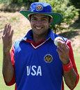 Khawaja Shuja after taking 5 for 15, USA v Norway, World Cricket League Division 5, Jersey, May 25, 2008