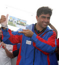 Hasti Gul with his Man-of-the-Match award, Jersey v Afghanistan, World Cricket League Division 5, Jersey, May 31, 2008