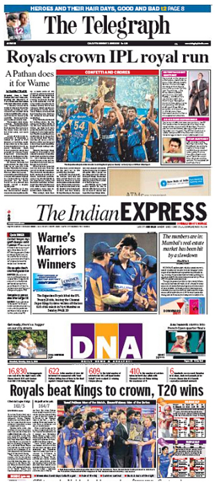 Headline news as Rajasthan Royals win the IPL, June 2, 2008
