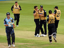 Tim Bresnan and Co. celebrate the wicket of Craig Spearman, Gloucestershire v Yorkshire, quarter-final, Friends Provident Trophy, Bristol, June 4, 2008