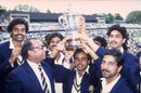 Indian team members proudly hold aloft the trophy, India v West Indies, Lord's, June 25, 1983