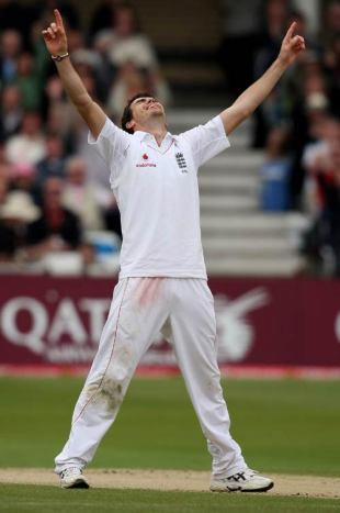 James Anderson celebrates finishing the New Zealand innings with his seventh wicket, England v New Zealand, 3rd Test, Trent Bridge, June 7, 2008