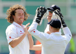 Ryan Sidebottom celebrates another five-wicket haul for England, England v New Zealand, 3rd Test, Trent Bridge, June 8, 2008