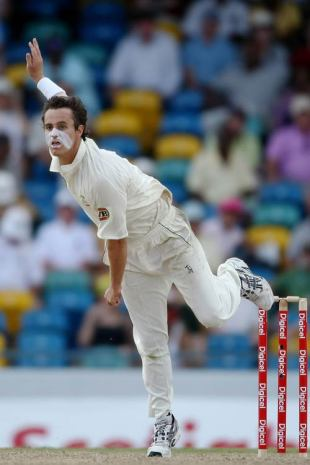 Beau Casson sends down a delivery in his first spell in Test cricket, West Indies v Australia, 3rd Test, Barbados, 2nd day, June 13, 2008