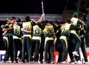 Pakistan celebrate their title triumph, India v Pakistan, Kitply Cup final, Mirpur, June 14, 2008