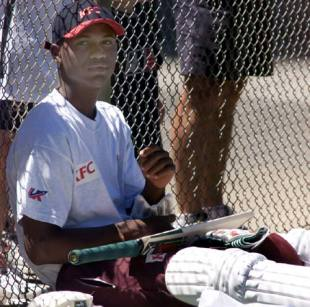 Marlon Samuels takes a break during a West Indies nets session, Adelaide, December 14, 2000