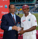 Shivnarine Chanderpaul receives the Man-of-the-Series award, West Indies v Australia, 3rd Test, Barbados, 5th day, June 16, 2008